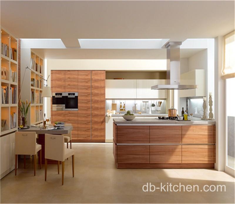 Modern Wood Grain Kitchen: High Quality UV Wood Grain Modern Kitchen Cabinet Model