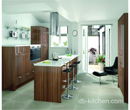 glossy wood grain customize made kitchen cabinet