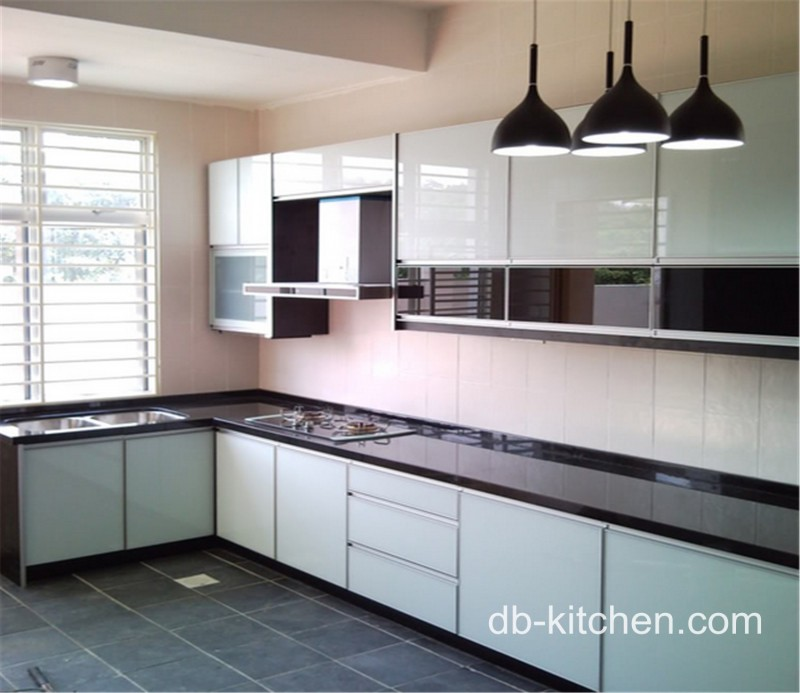 High gloss color mixed acrylic kitchen cabinet simple design for High gloss kitchen cabinets