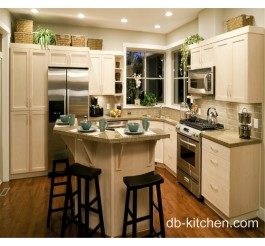Off white elegant PVC small kitchen cabinet design