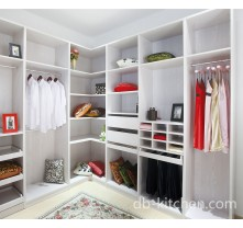 Walk in melamine laminate white wardrobe
