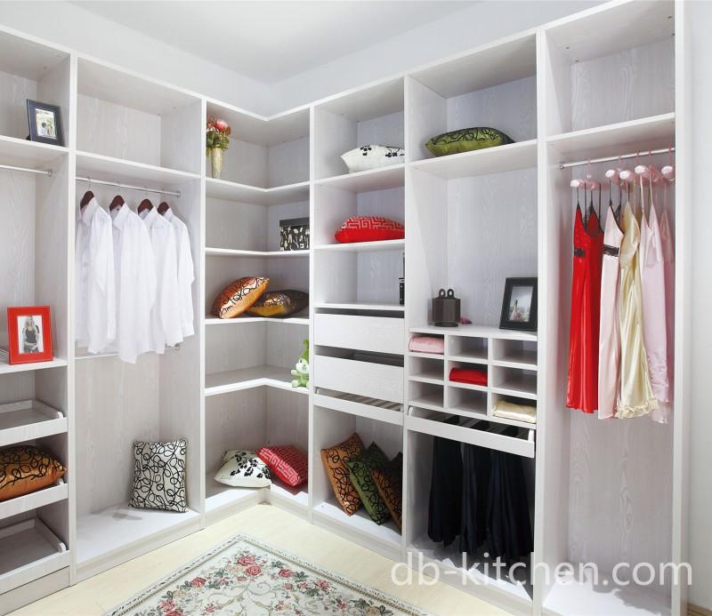 L Shape Melamine Walk In White Bedroom Wardrobe