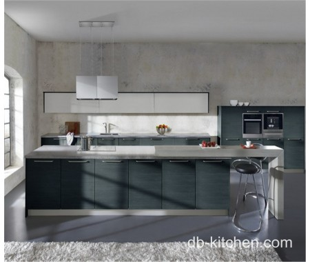 grey melamine and gloss white acrylic laminate kitchen cabinet design