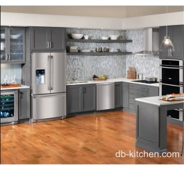 grey color custom made PVC kitchen cabinet