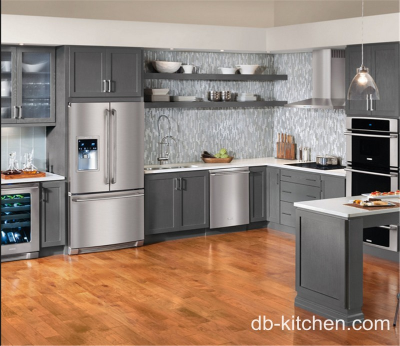 Custom Made Grey Color Pvc Old Style Kitchen Cabinet