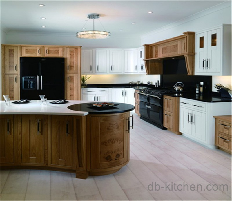 Old Style Solid Oak Wood Kitchen Cabinet Simple Design