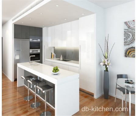 High Gloss White Acrylic For Small Kitchen Cabinet Design