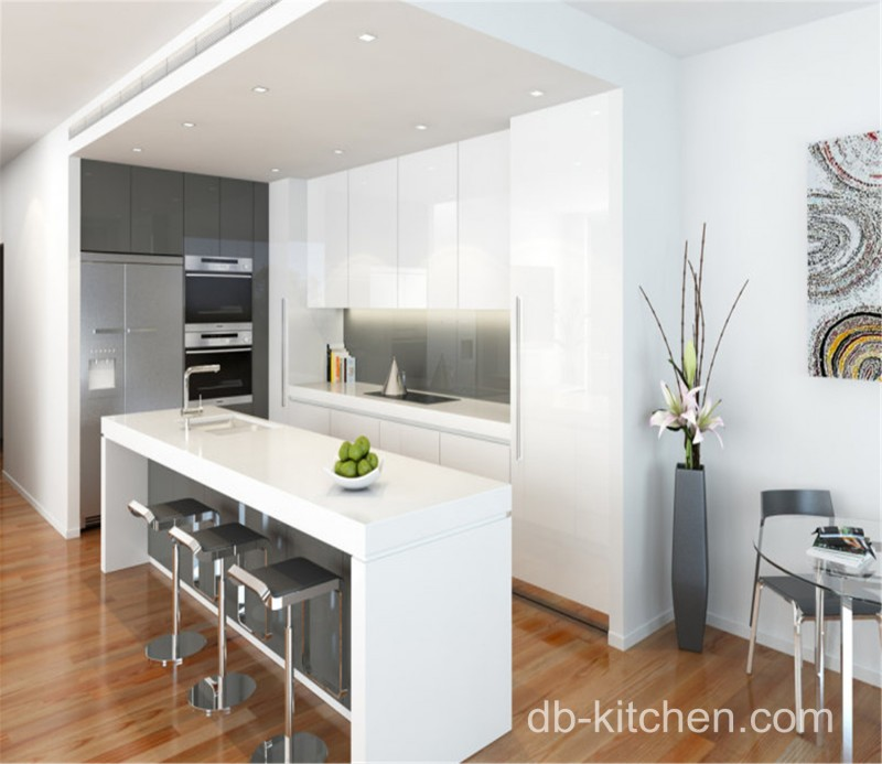 Gloss White Kitchen Cabinets: High Gloss White Acrylic For Small Kitchen Cabinet Design