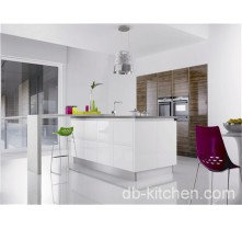 kitchen cabinet combination of high gloss lacquer and UV wood grain