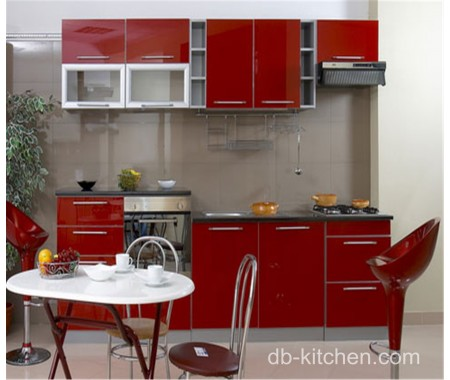 high gloss red lacquer kitchen cabinet design for small kitchen