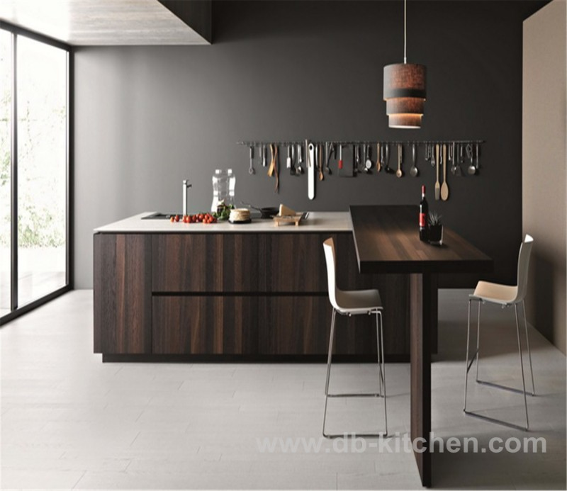 Modern uv wood grain simple design kitchen cabinet for Simple modern kitchen cabinets