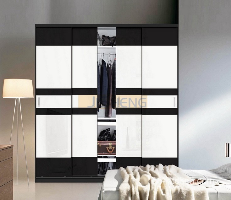 Modern wardrobe design with classic black and white color - Wardrobe design ...