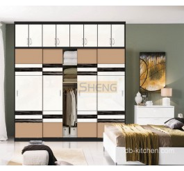 Uv high gloss plywood sliding door wardrobe