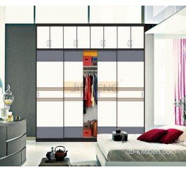 Uv high gloss white sliding door wardrobe