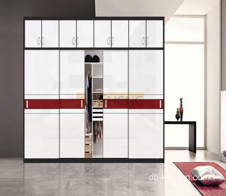 Laminated mdf high gloss wardrobe design