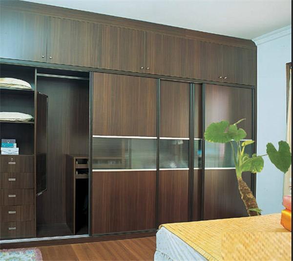 Wood grain color wardrobe sliding door for Kitchen wardrobe colours