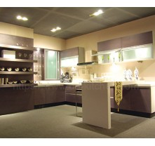 2016 China high gloss plywood grey kitchen cabinet supplier with kitchen island
