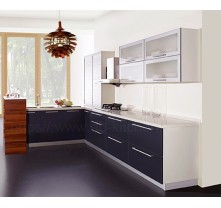 High quality apartment grey lacquer kitchen cabinet wholesale China