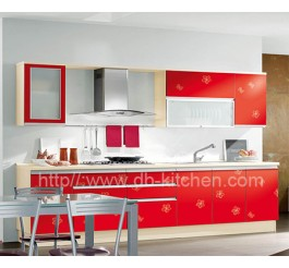 China Plywood Red Acrylic Kitchen Cabinet