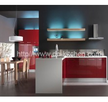 High Gloss Custom Make Red Acrylic Kitchen Cabinet