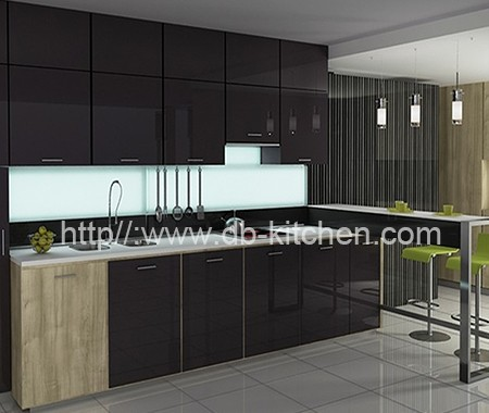 High Gloss Dark Grey Acrylic Kitchen Cabinet Manufacturer
