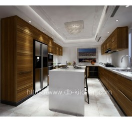 China  modern wood veneer kitchen cabinet supplier