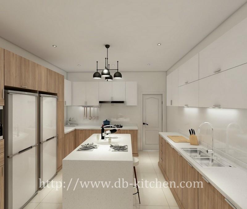 Black walnut veneer kitchen cabinet design
