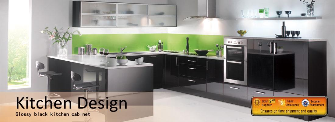 China modern wood veneer kitchen cabinet supplier