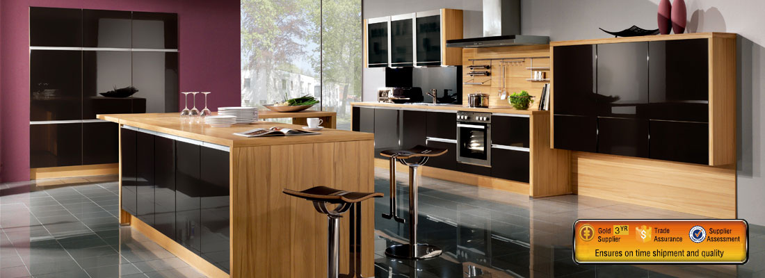 E0 high glossy black & wood grain kitchen cabinet